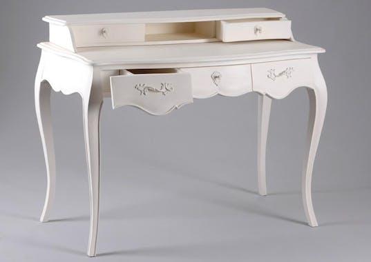 Bureau baroque romantique Acajou crème antique 3 tiroirs MURANO L 110 x P 55 x H 86 AMADEUS