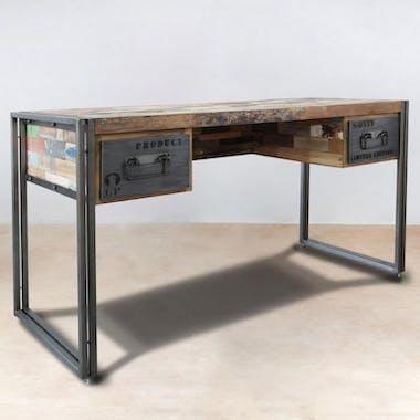 Bureau bois recyclé 2 tiroirs 120x60 CARAVELLE