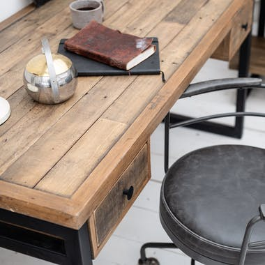 Bureau bois recyclé métal 2 tiroirs BRISBANE