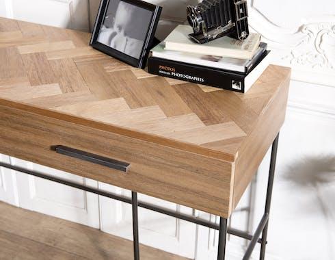 Bureau contemporain bois de teck damier CARPATES