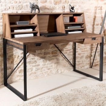 Bureau en Teck recyclé et métal noir 2 tiroirs et partie supérieure avec 7 niches 140x70x113cm SWING