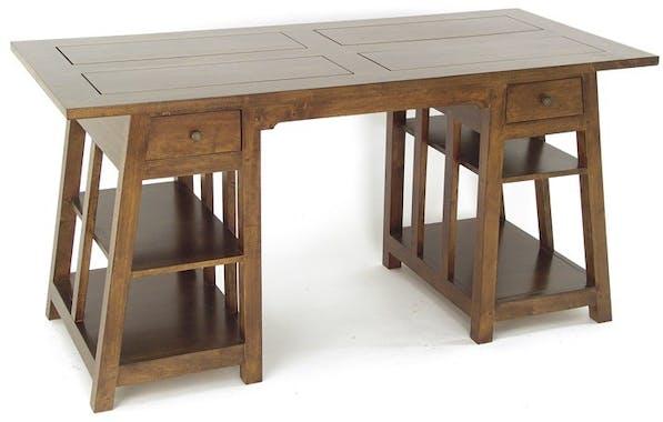 Bureau exotique hévéa massif 2 tiroirs 150cm MAORI