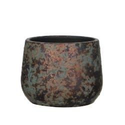 Cache-Pot en Terre Cuite aspect cuivré vieilli D16xH13cm
