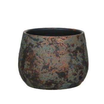 Cache-Pot en Terre Cuite aspect cuivré vieilli D19xH15cm