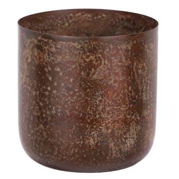 Cache-pot rond couleur rouille H 11 cm