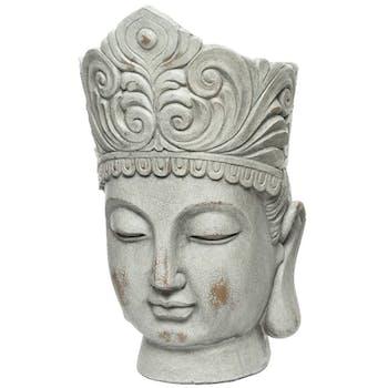 Cache-pot tête de bouddha gris blanchi M1