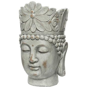Cache-pot tête de bouddha gris blanchi M2