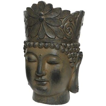 Cache-pot tête de bouddha marron blanchi M2