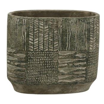 Cache-pot vert ovale en ciment