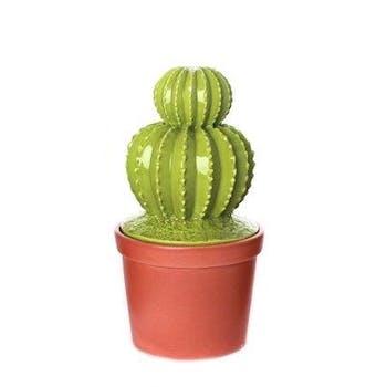 Cactus déco forme 2 boules surmontées dans son pot en terracotta 12,5X12,5X25cm