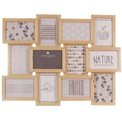 Cadre Pêle-Mêle 12 photos en bois naturel 59,5x45,5cm