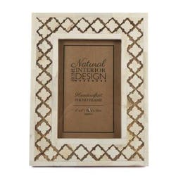Cadre photo bois naturel blanchi décor os ciselés 21x16cm