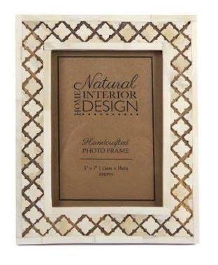 Cadre photo bois naturel blanchi décor os ciselés 23,5x18,5cm
