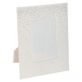 Cadre photo velours blanc et strass