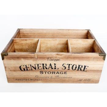 """Caisse en bois compartimentée """"general store"""""""