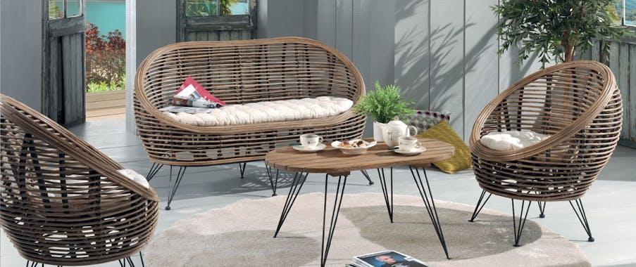 Canapé 2 places en rotin assise coussin tissu écru et pieds métal 143x84x76cm CANADA