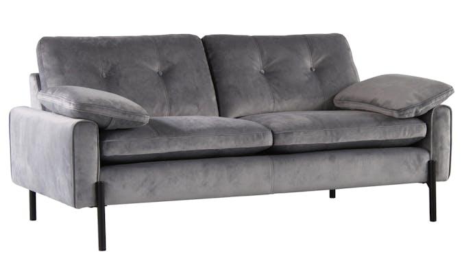 Canapé 2 places en velours gris GLASGOW