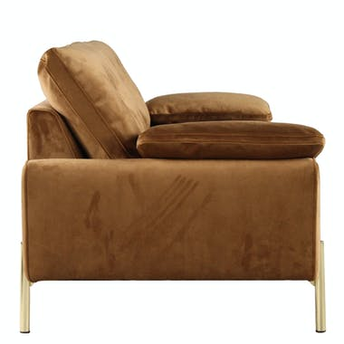 Canapé 3 places en velours camel GLASGOW