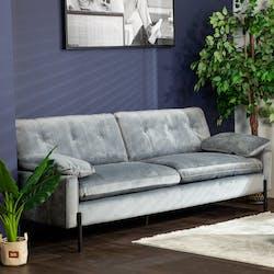 Canapé 3 places en velours gris GLASGOW