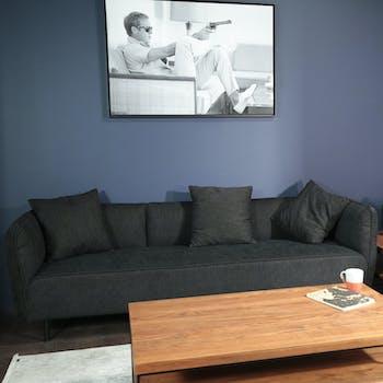 Canapé 3 places moderne tissu noir TURIN