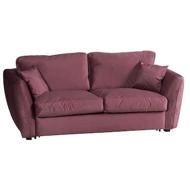 Canapé 3 places rose tissu toucher velours VARSOVIE