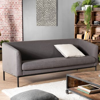 Canapé 3 places tissu gris taupe STOCKHOLM