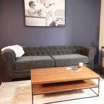 Canapé chesterfield 3 places en tissu anthracite chiné YORK