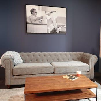 Canapé chesterfield 3 places en tissu gris chiné YORK