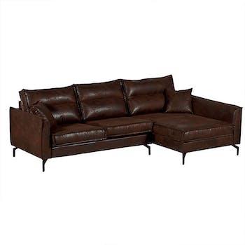 Canapé d'angle havane (retour droit) EPIKA