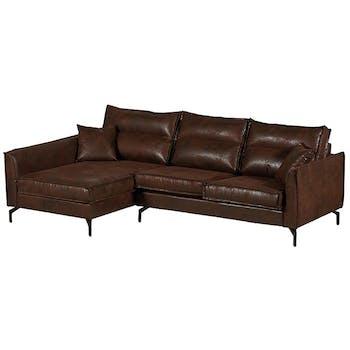 Canapé d'angle havane (retour gauche) EPIKA