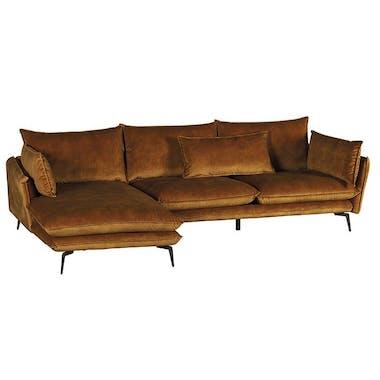 Canapé d'angle ocre retour droit MALMOE