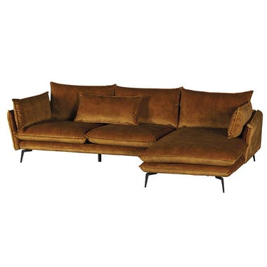 Canapé d'angle ocre retour gauche MALMOE