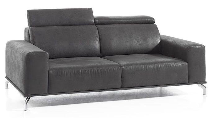 Canapé droit 3 places gris microfibre Dundee