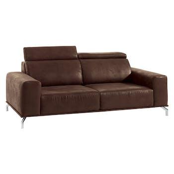 Canapé droit 3 places marron havane microfibre Dundee