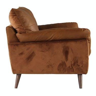 Canapé en cuir et velours camel 2 places NOTTINGHAM