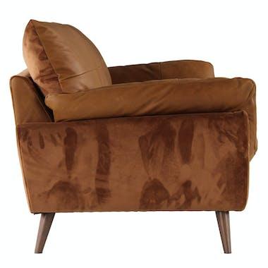 Canapé en cuir et velours camel 3 places NOTTINGHAM