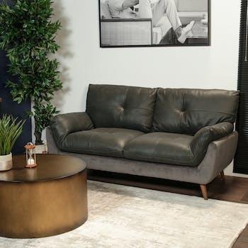 Canapé en cuir et velours gris 2 places NOTTINGHAM