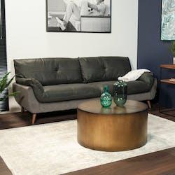 Canapé en cuir et velours gris 3 places NOTTINGHAM