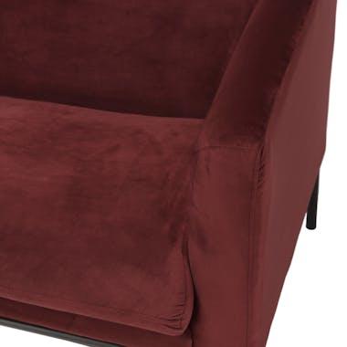 Canapé en velours rouge bordeaux TIM