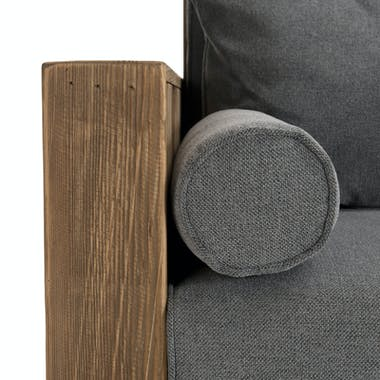 Canapé gris 3 places en bois de pin recyclé DENVER