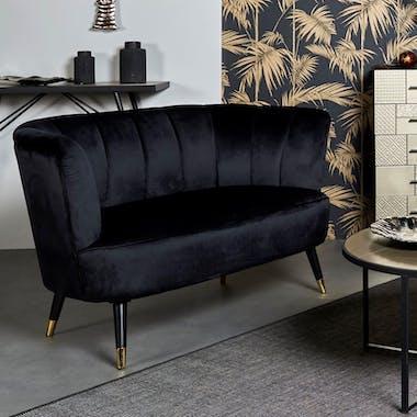 Canapé noir en velours LEIPZIG