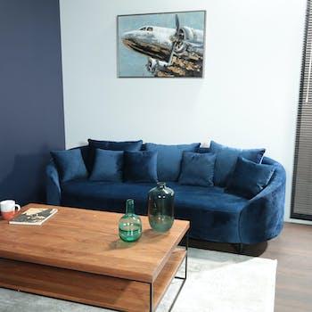Canapé rond 3 places en velours bleu nuit TRIESTE