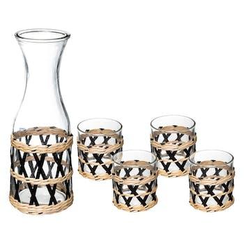 Carafe en verre et 4 verres assortis