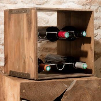 Casier à bouteilles en Teck recyclé et métal 32x32x32cm SWING