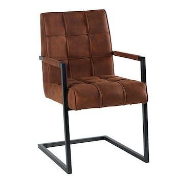 Chaise avec accoudoirs en tissu marron havane capitonné quadrillé et pieds métal 55x65x90cm KERALA