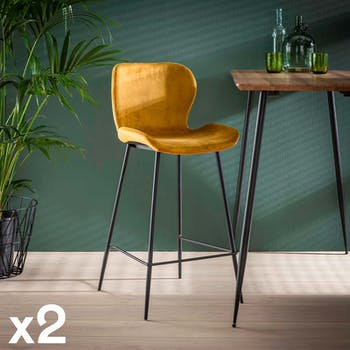 Chaise bar en velours doré MELBOURNE (lot de 2)