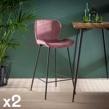 Chaise bar en velours rose velvet MELBOURNE (lot de 2)
