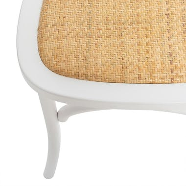 Chaise bistrot blanche assise tressée LUZ