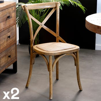Chaise en bois de style bistrot assise en cannage