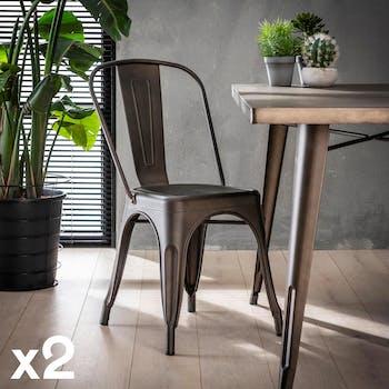 Chaise de style bistrot en metal gris